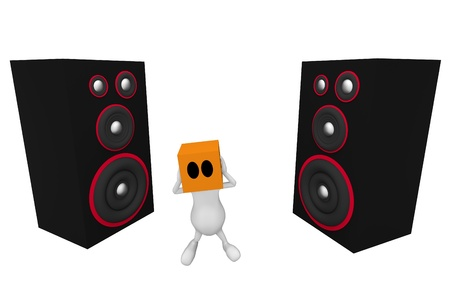 3d little cute people with cube orange head standing between two big speakers photo