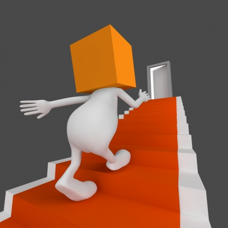 3d little cute people with cube orange head go up the stairs with open door on the end photo