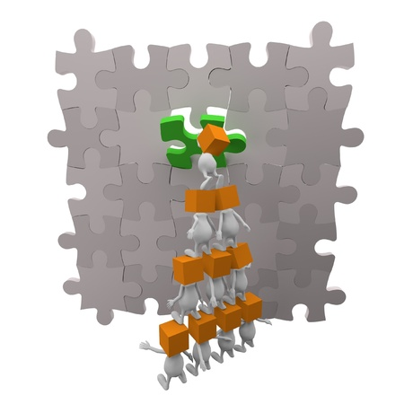 3d little cute people with cube orange head teamwork with puzzle photo