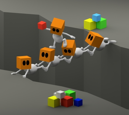 3d little cute people with cube orange head teamwork with people bridge photo