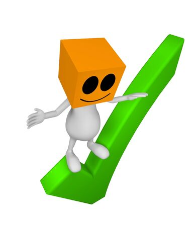 3d little cute people with cube orange head standing on OK sign Stock Photo - 14827270
