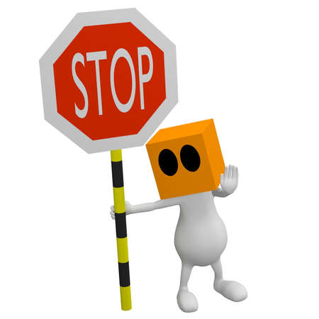 3d little cute people with cube orange head with stop traffic sign in hand photo