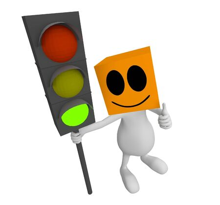 3d little cute people with cube orange head with traffic sign in hand and green light on photo