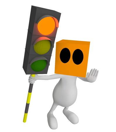 3d little cute people with cube orange head with traffic sign in hand and red light on photo