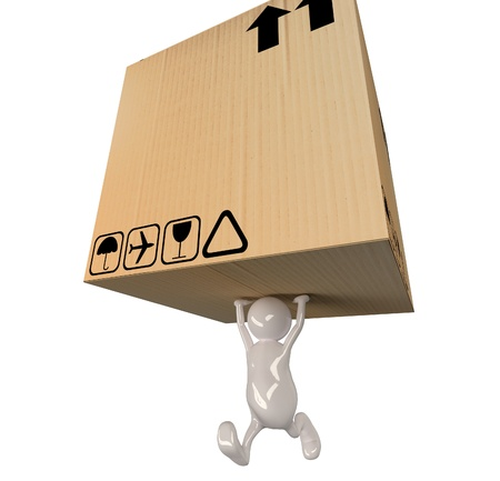 3d people man delivering big cardboard box  Stock Photo