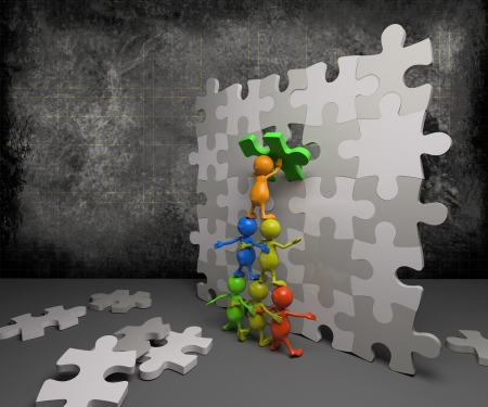 3d people teamwork with puzzle Stock Photo - 15421402