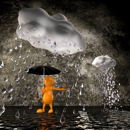 3d people rain photo