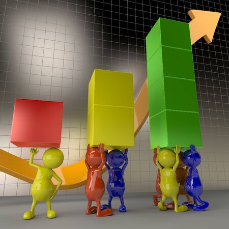 3D People Teamwork, Holding Chart Elements Business Concept photo