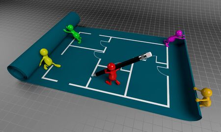 3D People Teamwork, Working on Floor Plan Business Concept photo