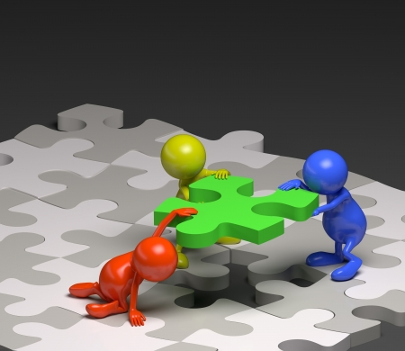 3d people teamwork with puzzle concept Stockfoto