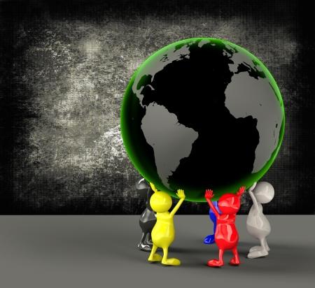 ahorrar agua: Las personas titulares de la Tierra en 3D Globe