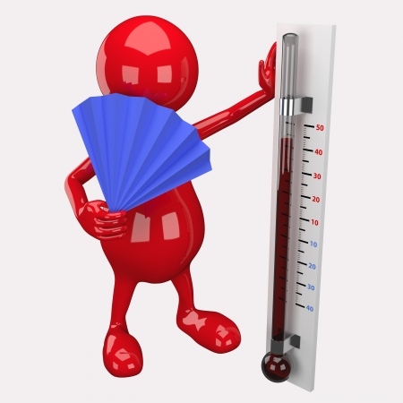 temperatures: 3D People Holding Thermometer Stock Photo