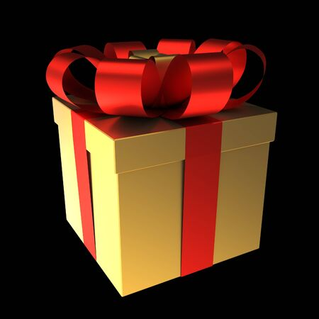 Gift Box Golden with Red Ribbon photo
