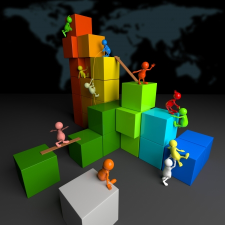 3D People Teamwork with Colorful Blocks Stock Photo