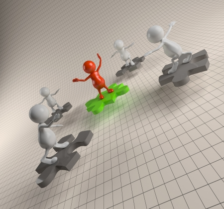 3D People Teamwork with Puzzle photo