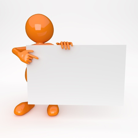 3D People with White Card photo