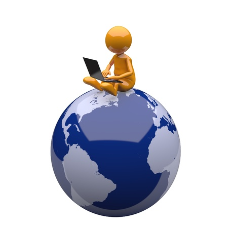 3D People with Laptop and Earth Globe photo