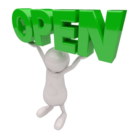 3D People with Open Sign in Hands photo