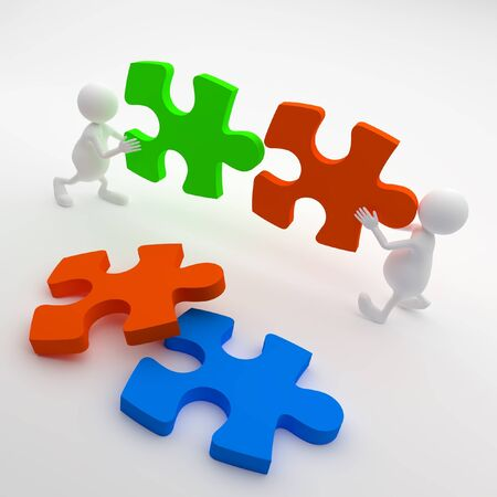 3D People holding Puzzle photo