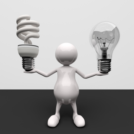 3D People With Lighting Bulb Stock Photo - 17331863