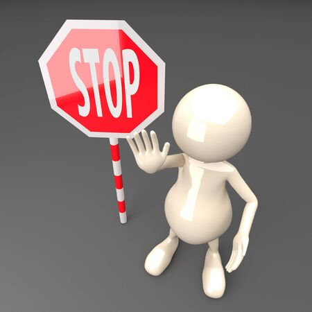 3D People with Stop Sign Stock Photo - 17331841