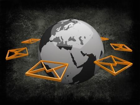 Earth Globe Black with Orange Mail