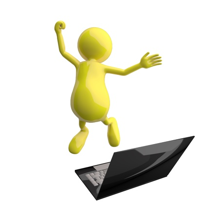 3D People Happy Jumping in front of Laptop photo