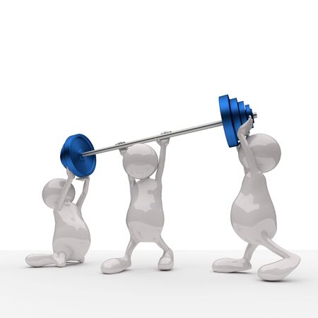 3D People Teamwork Holding Blue Weights photo