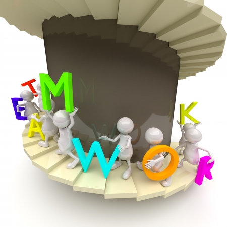 3D People Teamwork with Stairs and Letters photo
