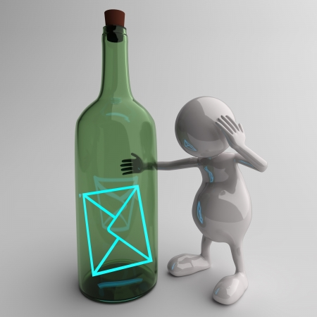 3D People With Blue Email Message in Bottle