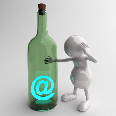 3D People With Blue Glossy Email Message in Bottle photo