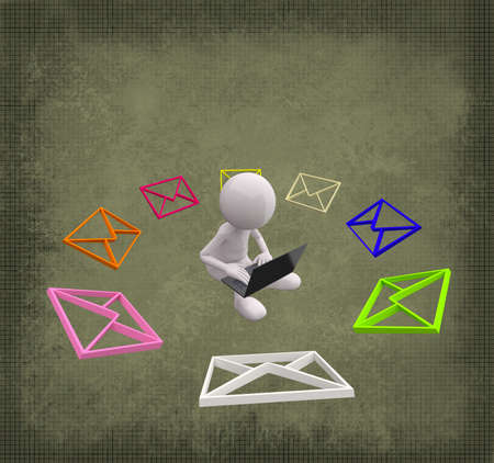 3D People with colorful Mail on Grunge Background photo