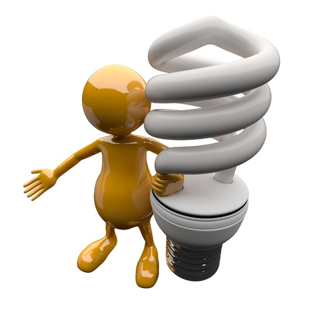 3D People with Energy Saving Lighting Bulb photo