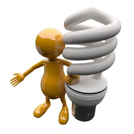 3D People with Energy Saving Lighting Bulb Stock Photo - 17530630