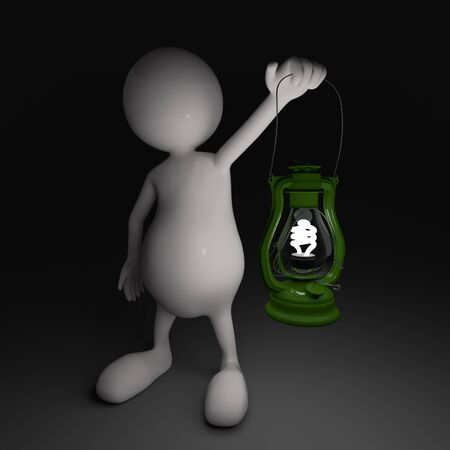 3D People with Lantern in Hands with Energy Saving Bulb photo
