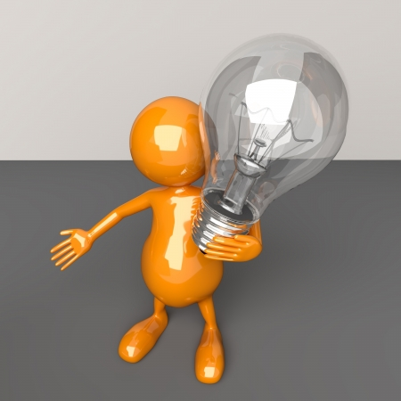 3D People with Lighting Bulb in Hand Stock Photo - 17530632