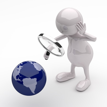 3D People with Magnifying Glass and Earth Globe photo