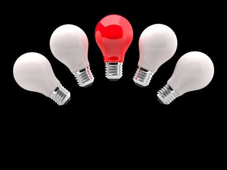 Lighting Bulb White and One Red Stock Photo - 17530628