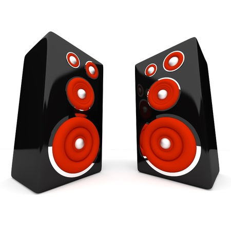 Speakers on white background photo