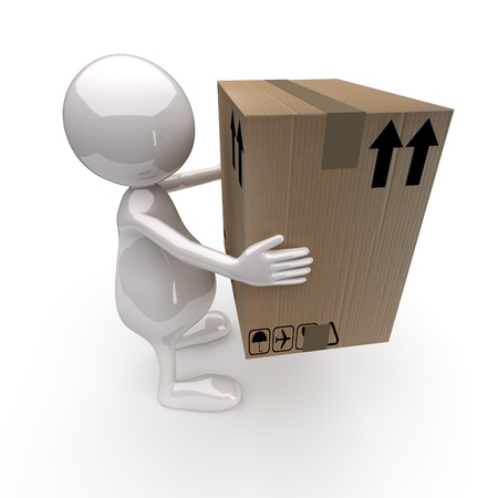 delivers: 3D People Delivers Cardboard Box on White Background Stock Photo