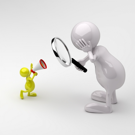 3D People with Magnifying glass and Megaphone photo