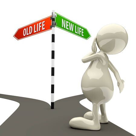 doubting: 3D People Road Sign Old Life New Life on White Background Stock Photo