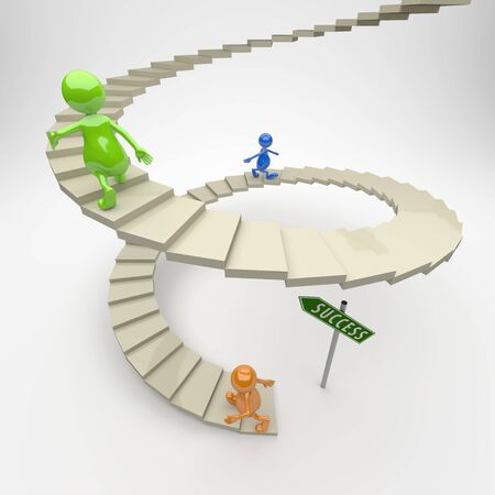 3D People Stairs to Success on Light Background photo