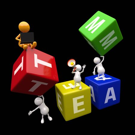 leadership qualities: 3D People Team Concept with colorful cubes and letters Stock Photo