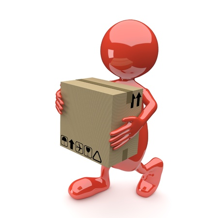 3D People with Cardboard box in Hands on White Background photo