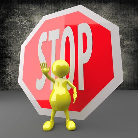 3D People with STOP Sign on dark Background photo