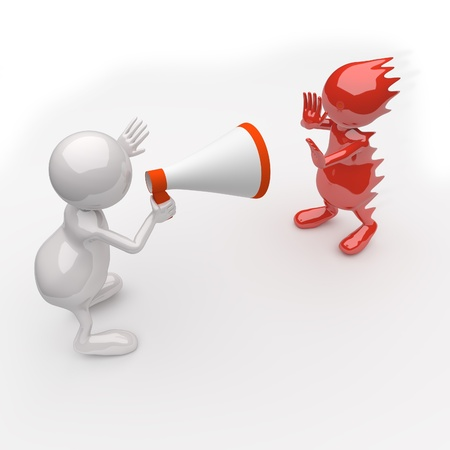 3D People Yelling in a Megaphone on white Background Stock Photo