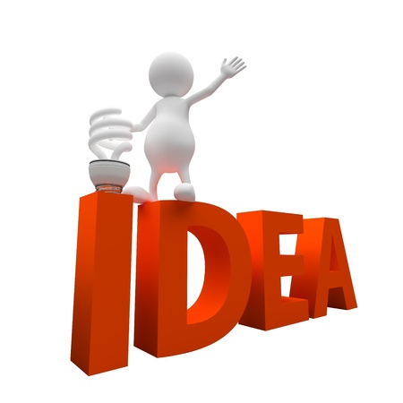 3D People with Word Idea and White energy saving Lighting Bulb