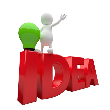 opinions: 3D People with word idea and green lighting bulb on white background