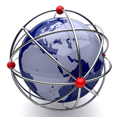 Planet Earth in Atom Cage on White Background Stock Photo